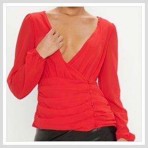 Red Ruched Plunge Button Blouse